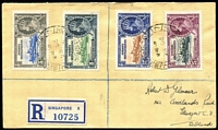 Lot 128 [2 of 4]:1935 Silver Jubilee complete sets on registered covers comprising Gambia, Gold Coast (3d value with Blue vertical hairline next to flagstaff), Grenada & Straits Settlements, stamps alone Cat £150+. (4)