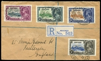 Lot 128 [1 of 4]:1935 Silver Jubilee complete sets on registered covers comprising Gambia, Gold Coast (3d value with Blue vertical hairline next to flagstaff), Grenada & Straits Settlements, stamps alone Cat £150+. (4)