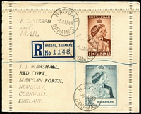 Lot 129 [3 of 5]:1948 Silver Wedding complete sets on cover comprising Ascension, Bahamas & Malta all registered, plus Aden (illustrated) & Bermuda, stamps alone Cat £240. (5)