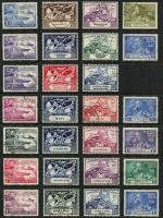 Lot 131 [2 of 5]:1949 British Commonwealth UPU complete set, fine used. Challenging assemblage, Cat £675. (310)