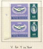 Lot 133 [1 of 4]:1965 International Co-Operation Year apparently complete of 107 & both M/Ss, plus a few multiples and Mauritius 60c variety 'V' for 'Y' in 'YEAR' in pair, MUH, Cat £110+. (120 approx)