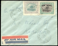 Lot 1512 [1 of 2]:1932 Port Moresby-Kokoda (Sep 28) first flight cover piloted by Orme Denny AAMC #P45 with 2½d Bicolour plus 3d optd 'AIR MAIL' tied by Port Moresby datestamp (Lee Type 18) with Kokoda arrival datestamp alongside (Lee Type 70), flight endorsements on reverse, cover addressed to M.C. Rich, then Assistant District Officer for Kokoda, Cat $160.