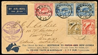 Lot 1513 [3 of 4]:1934 Matching pair of Australia-Papua flight covers (1) franked with Victoria Centenary 2d + 3d pair plus Papua 2d & 6d Pictorials; (2) franked with Bridge 2d & 3d pair plus New Guinea Undated Birds 2d & 6d Air Mail. (4)