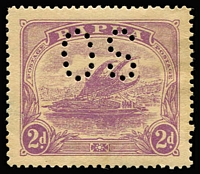 Lot 1114:1911-12 Monocolours Perf 'OS': 2d bright mauve watermark variety Crown to right of 'A' SG #O40w, uniform gum toning, faint corner bend, MVLH, unpriced mint (unpunctured stamp Cat £170).