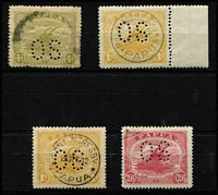 Lot 1113 [2 of 3]:1911-12 Monocolours Perf 'OS': ½d to 2/6d set SG #O38-45, including several shades and scarce Thin paper 6d bright orange-brown with '19DEC12' datestamp (as described by Croaker), 4d with small blemishes, generally fine, Cat £160+. (13)