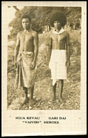 Lot 1157:Real-photo image of Vaiviri heroes Igua Kevau and Gari Dai who helped save Mrs F.G. Berge, wife of the resident magistrate after the Vaiviri was wrecked in a storm off Kerema, also a copy of the Feb 1931 P.I.M. account of their story. Not seen by us before.