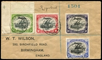 Lot 779 [1 of 2]:1908 (Aug 15) registered Wilson cover to England with Large 'Papua' ½d to 2½d tied by Port Moresby (Lee Type 9) '15AUG08' datestamp, superb Cooktown 'SP11/08' and Brisbane backstamps. Most attractive.