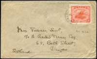 Lot 780 [2 of 4]:1913-24 Selection with [1] 1913 to Sydney with 1d Monocolour tied by Daru (Lee Type 44) datestamps; [2] 1922 to Scotland with 1d Monocolour tied by Port Moresby datestamp; [3] 1919 (Mar 1) to Scotland with 1d Bicolour pair tied by Port Moresby datestamp; [4] 1924 to Sydney with ½d Bicolours strip of 3 tied by Port Moresby datestamp (Lee Type 13a, ERD?); some faults. (4)