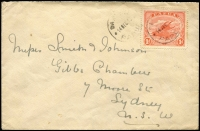 Lot 1545 [3 of 4]:1913-24 Selection with [1] 1913 to Sydney with 1d Monocolour tied by Daru (Lee Type 44) datestamps; [2] 1922 to Scotland with 1d Monocolour tied by Port Moresby datestamp; [3] 1919 (Mar 1) to Scotland with 1d Bicolour pair tied by Port Moresby datestamp; [4] 1924 to Sydney with ½d Bicolours strip of 3 tied by Port Moresby datestamp (Lee Type 13a, ERD?); some faults. (4)