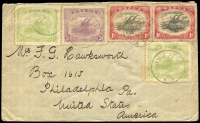 Lot 781:1914 double-rate cover to USA with Large Papua 1d x2 (one with Cut in Sail variety) and Monocolours ½d x2 & 2d tied by weak but discernible Kanosia datestamps (Lee Type 79). Rated D, some soiling.