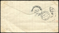 Lot 307 [2 of 2]:1928 (May 24) cover to USA with combination franking of Surcharges 1d on ½d block of 4 cancelled with Port Moresby '24MAY28' datestamps (another fine strike beneath) alongside USA 10c Air tied by San Francisco duplex, San Francisco and Cleveland backstamps. US internal air fee prepayment covers are rarely seen.