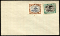 Lot 309 [2 of 2]:1930(?) cover to South Australia with Harrison 3d optd 'AIRMAIL' SG #113 pair plus 1½d Bicolour tied by indistinct Port Moresby datestamps, comparison cover included with Cooke 3d optd 'AIRMAIL', stamps alone Cat £150+.