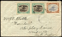 Lot 309 [1 of 2]:1930(?) cover to South Australia with Harrison 3d optd 'AIRMAIL' SG #113 pair plus 1½d Bicolour tied by indistinct Port Moresby datestamps, comparison cover included with Cooke 3d optd 'AIRMAIL', stamps alone Cat £150+.