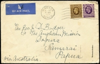 Lot 1150 [1 of 2]:1937 Coronation airmail cover from UK to Anglican Mission Dogura via Samarai with GB KGV 1/- & 3d tied by Windsor machine cancel, Brisbane slogan transit backstamp. Uncommon inwards mail.