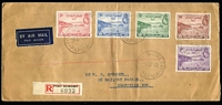 Lot 1507 [2 of 5]:1938-39 Air Sets on FDI long covers comprising [1] 1938 50th Anniv set tied by Abau '6SP38' FDI datestamps, addressed to midshipman on HMS Shropshire [The Shrophire was given to the RAN by the Royal Navy after the Canberra was sunk off Savo Island in 1942]; [2] 1938 50th Anniv set tied by Port Moresby FDI datestamps to registered cover to Granville (NSW); [3] 1939 2d to 1/- Air set tied to registered cover by Port Moresby '6SP39' FDI datestamps, addressed to Goodiwindi (Qld). (3)