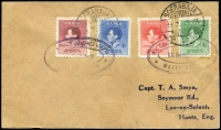 Lot 1138 [1 of 2]:1938 Ship Mail Covers comprising [1] KPM Line (crest on flap) cover to NZ with 2d Pictorial tied by Brisbane datestamp with boxed 'PAQUEBOT' handstamp (Lee Type S5) alongside; [2] cover to England with Coronation set tied by two stikes of S.S. Swartenhondt oval datestamp in violet (Lee Type S14) and Soerabaja datestamps. (2)