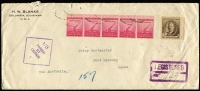 Lot 794 [1 of 2]:1940 (Dec 3) inwards registered long cover from USA with 10c Remington & 2c Defence strip of 5 addressed to Port Moresby, Brisbane censor handstamp, on reverse '*POST OFFICE*/13/JAN/1941/PORT MORESBY, PAPUA' datestamp in violet (Lee Type 23, Rated C). Uncommon WWII inward mail.