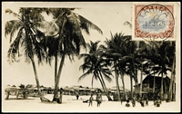 Lot 1156:Tahira: 'TAHIRA/12JY26' fine strike tying 1½d Bicolour to RP PPC showing coastal village scene.  PO 18/12/1925; closed 31/10/1926.
