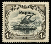 Lot 1101:1906 Large 'Papua' Wmk Vertical 4d black & sepia SG #25, fine mint, Cat £225.