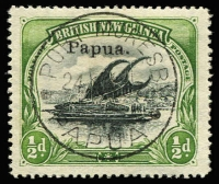 Lot 1103:1907 Small 'Papua' Wmk Horizontal Thin paper SG #34a, very fine used, Cat £90. Elusive stamp.