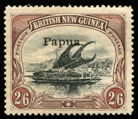 Lot 1102 [2 of 2]:1907 Small 'Papua' Wmk Horizontal Thin paper ½d SG #34a & Thick paper 2/6d SG #37, fine mint, Cat £125. (2)