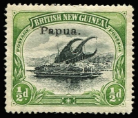 Lot 1102 [1 of 2]:1907 Small 'Papua' Wmk Horizontal Thin paper ½d SG #34a & Thick paper 2/6d SG #37, fine mint, Cat £125. (2)