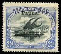 Lot 1104 [1 of 2]:1907 Small 'Papua' Wmk Horizontal Thin paper 2½d black & ultramarine and 2½d black & dull blue SG #35a&35ac, mint, Cat £405. (2)