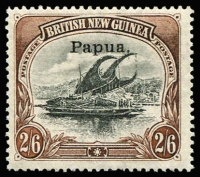 Lot 1347 [1 of 2]:1907 Small 'Papua' Wmk Vertical Thin/Medium Paper ½d to 2/6d set SG #38-45, fine MLH, Cat £225. (8)