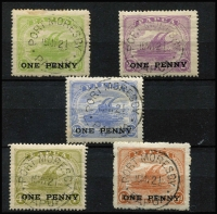 Lot 1349 [2 of 2]:1917 'ONE PENNY' Surcharges 1d on ½d (small tone) to 1d on 2/6d set SG #106-11, 1d on 2½d minor tone, all with tidy Port Moresby '15MY21' datestamps, Cat £48. (6)