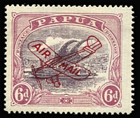 Lot 1350 [2 of 2]:1930 Aeroplane Overprints Harrison 6d dull & pale purple and Ash 6d dull purple & red-purple (slight thin) both with 'POSTACE' at left SG #116a&119a, mint, Cat £180. (2)