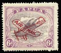 Lot 1350 [1 of 2]:1930 Aeroplane Overprints Harrison 6d dull & pale purple and Ash 6d dull purple & red-purple (slight thin) both with 'POSTACE' at left SG #116a&119a, mint, Cat £180. (2)