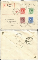 Lot 767 [2 of 8]:1937 Coronation on-cover array with [1] set on Port Moresby registered FDC, 1d value with Halo flaw; [2] mostly registered FDCs x10 from Abau, Buna Bay (handmade registration label, Lee #R20), Bwagaoia, Daru, Ioma, Kokoda (two-line registration handstamp in violet), Kulumadau, Losuia, Port Moresby and Samarai (not registered), all are backstamped, ex the latter, with clear datestamp cancels; [3] compete sets on Hiler covers addressed to Wau x4 with sequentially numbered registration labels between 43961-4, each backstamped at Port Moresby & Wau; generally fine. (15)