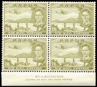 Lot 1356:1941 1/6d Air McCracken imprint block of 4, upper-right unit gum crease, mild edge tone affecting three units, MUH, Cat £120++.