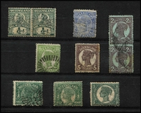 Lot 373 [2 of 2]:1868-1908 Selection mostly used, with 1868-74 Truncated Star 3d x2, 1890 2½d carmine Scratched plate [Pos 76], 1897-1908 2/- turquoise-green (Cat £50), condition variable. (18)