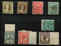 Lot 373 [1 of 2]:1868-1908 Selection mostly used, with 1868-74 Truncated Star 3d x2, 1890 2½d carmine Scratched plate [Pos 76], 1897-1908 2/- turquoise-green (Cat £50), condition variable. (18)
