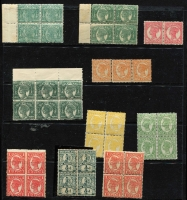 Lot 374 [2 of 2]:1868-1911 Mint Sideface Array on Hagners with 1879-81 4d (stained) & 1/-, 1890 Lined Oval to 2/- x2, 1890 ½d pale green block of 4, 1897-98 1d zig-zag roulette block of 4,1897-1908 Void Oval to 6d including 4d block of 4, etc; some condition issues, mostly fine, high catalogue value. (85)