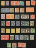 Lot 374 [1 of 2]:1868-1911 Mint Sideface Array on Hagners with 1879-81 4d (stained) & 1/-, 1890 Lined Oval to 2/- x2, 1890 ½d pale green block of 4, 1897-98 1d zig-zag roulette block of 4,1897-1908 Void Oval to 6d including 4d block of 4, etc; some condition issues, mostly fine, high catalogue value. (85)