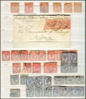 Lot 375 [2 of 3]:1868-1911 Sidefaces Accumulation mostly used on stockbook pages with First Sidefaces to 1/- x6 including 4d orange-yellow x5, 1880 ½d on 1d pen-cancelled, 1890 Lined Oval to 2/-, 1897-1908 Void Oval to 6d, some multiples & useful mint oddments throughout, plus a couple of covers; mixed condition, high catalogue value. (few 100s)
