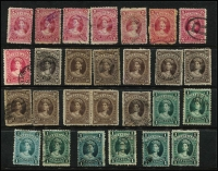 Lot 376 [2 of 2]:1882-1906 Large Chalons accumulation on Hagners comprising 2/- x26, 2/6d x16, 5/- x20, 10/- x11 & £1 x8 mostly fiscally used with a few postally used seen, condition variable. Nice study lot. (81)