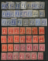 Lot 376 [1 of 2]:1882-1906 Large Chalons accumulation on Hagners comprising 2/- x26, 2/6d x16, 5/- x20, 10/- x11 & £1 x8 mostly fiscally used with a few postally used seen, condition variable. Nice study lot. (81)