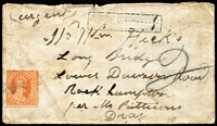 "Lot 789:1866(?) Rockhampton unstamped local cover with weak Rockhampton datestamp at upper right, clear strike of 'DEFICIENT POSTAGE (""1"")/FINE (""1"")' boxed handstamp at top with 1d Chalon added and tied by indistinct cancel. Somewhat soiled, but scarce."