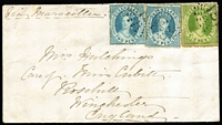 "Lot 790:1867 cover to England ""Via Marseilles"" with Chalons 2d x2 & 6d tied by Rays '151' (?) cancels, part Brisbane transit backstamps and fine Winchester arrival backstamp, large-part of backflap missing, otherwise fine."