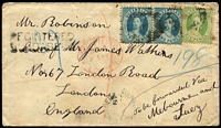 Lot 504:1877 cover to England with Chalon 2d pair & 6d tied by indistinct cancel with 1877 Bundaberg datestamp beneath & 'REGISTERED/BUNDABERG' two-line registration handstamp at upper left, on reverse part 'REGISTERED LETTER OFFICE/BRISBANE' datestamp in violet, London arrival datestamp on front & reverse.