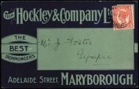 Lot 1077:1909 (Nov 3) Hockley & Company (ironmonger, Maryborough) advice card to Gympie with attractive all-over advertising in green & blue.