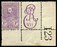 Lot 786:Stamp Duty: 1901 1d lilac corner marginal example with Royal Cypher monogram at left, few light tonespots, MUH. Seldom offered.