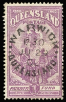 Lot 994:1900 Boer War Patriotic Fund 1d (6d) claret SG #263, with superb 'WARWICK/JU29/00/QUEENSLAND' unframed datestamp, Cat £120.