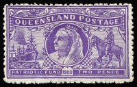 Lot 995:1900 Boer War Patriotic Fund 2d (1/-) violet SG #264, fine mint (hinge remainder), Cat £350.