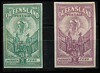 Lot 785 [2 of 2]:1900 Boer War Patriotic Fund 1d imperforate plate proof singles in green, blue or dull purple (similar to the issued colour), on ungummed, watermarked paper. (3)
