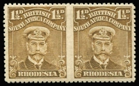 Lot 1649:1913-22 Admirals Single Plate Perf 14 1½d drab-brown horizontal pair, variety Imperforate between, SG #199a, superb MLH, Cat £850.