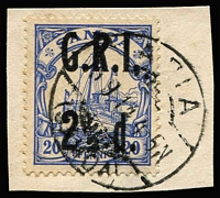 Lot 1523:1914 2½d on 20pf ultramarine surcharge variety Comma instead of stop after 'I' SG #104d. tied to piece by Apia datestamp, expertising marks on reverse including Calves. Fine example, Cat £350.